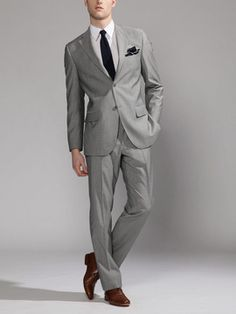 imma sucker for a grey suit Sharp Dressed Man, Well Dressed Men, Light Grey Suits, Bespoke Clothing, Suit Shoes, Suit And Tie, Gentleman Style, Wedding Suits, Cool Suits