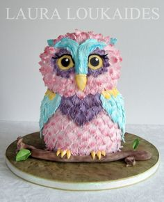 Orchid The Owl Cake By Laura Loukaides - http://www.facebook.com/LauraLoukaidesCakes - (cakesdecor)