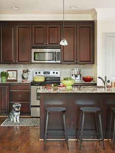 Dark, light, oak, maple, cherry cabinetry and ikea wood kitchen cabinet doors. CHECK THE PIC for Lots of Wood Kitchen Cabinets. Condo Kitchen, Kitchen Redo, Kitchen Backsplash, Kitchen Ideas, Backsplash Ideas, Kitchen Floors, Kitchen Layout, Kitchen Living, Kitchen Design Open