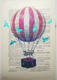 image on text Air balloon with blue birds- ORIGINAL ARTWORK Mixed Media, Hand Painted on 1920 Parisien Magazine Petit by Coco De Paris picture on VisualizeUs Balloon Pictures, Origami, Bird Artwork, Paris Pictures, Mixed Media Artwork, Hot Air Balloon, Air Ballon, Balloon Rides, Little Birds