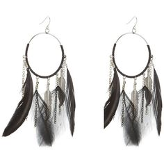 Black Feather Hoop Earrings ($6.48) ❤ liked on Polyvore featuring jewelry, earrings, hoop earrings, earring jewelry, feather jewelry, feather hoop earrings and feather earrings