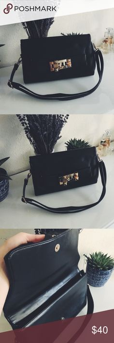 Black bag/clutch with gold hardware Black bag/clutch with gold hardware   From Arden B, sad to part with baby but I don't give it enough love. Arden B Bags