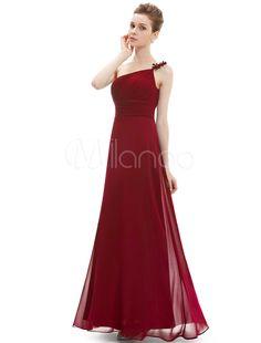 f9ac8b0fd88f8 Burgundy Bridesmaid Dresses Long Chiffon Pleated One Shoulder Floor Length  Prom Dress #Long, #
