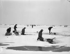 Vintage Ice Fishing - Michigan, without ice fishing shacks!