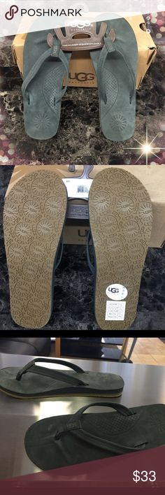 NIB, UGG Charcoal Kayla Nubuck flip flops Box included..charcoal/ soft black color, with a camel colored detail on sole . Slight arch support. True to size UGG Shoes Sandals