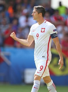 #EURO2016 Robert Lewandowski of Poland celebrates scoring his penalty during the UEFA EURO 2016 Round of 16 match between Switzerland v Poland at Stade...