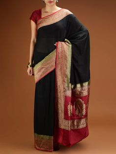 Black-Red Banarasi Silk Kadhwa Brocade Saree with Zari Border Brocade Saree, Banarasi Sarees, Silk Sarees, Saris, Pakistani Outfits, Indian Outfits, Black Cotton Saree, Indian Kurta, Ethnic Looks