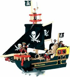 Wooden Barbarossa Pirate Ship by Hotaling. $45.39. Black wooden pirate ship. Crow?s nest with detachable rigging. Working cannon with balls. Opening stern. Mix and match with Papo figures, sold separately. From the Manufacturer                Le Toy Van toys are all made of wood, with exquisitely painted details. They mix and match with Papo figures, sold separately. This Barbarossa Pirate Ship is a classic black wood ship with black sails. Figures can play on the ...