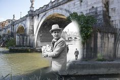 Alberto Sordi sotto il Ponte dell'Angelo.