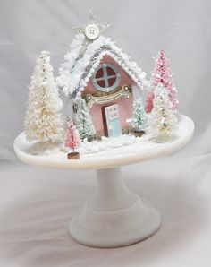 Vintage Christmas Crafts, Pink Christmas Decorations, Christmas Projects, Christmas Ideas, Whimsical Christmas, Beautiful Christmas, White Christmas, Christmas Home, Christmas Holidays