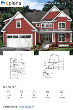 This modern farmhouse gives you an open floor plan, a big back porch, and room to grow. Call 1-800-528-8070 today. #architect #architecture #buildingdesign #homedesign #residence #homesweethome #dreamhome #newhome #newhouse #foreverhome #interiors #archdaily #modern #farmhouse #house #lifestyle #design