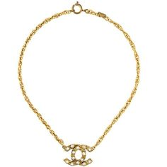 Chanel Vintage Crystal Logo Pendant Necklace ($1,623) ❤ liked on Polyvore featuring jewelry, necklaces, metallic, crystal jewelry, gold tone necklace, vintage pendant, crystal stone necklace and crystal necklace pendant