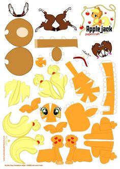 Applejack Papercraft My little pony My Little Pony Party, Fiesta Little Pony, My Little Pony Craft, Cumple My Little Pony, 3d Paper Crafts, Paper Toys, Imprimibles Toy Story, Little Poney, My Little Pony Friendship