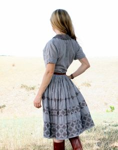50's Day Dress S M Brown Cotton GINGHAM - Hand Embroidered - SouthWest Rockabilly