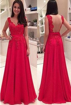 Red Long A-line Straps Lace Backless Chiffon Prom Dresses 2017