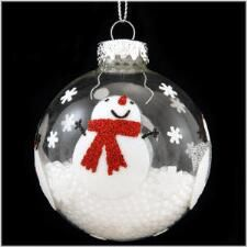 Snowmen On Clear Glass Ornament