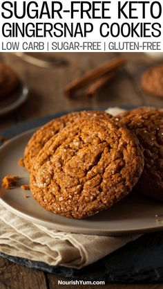 Healthy Homemade Low Carb Keto Gingersnap Cookies Recipe Gluten free Sugar free Learn how to make these delicious healthy ginger cookies An alltime favorite dessert reci. Keto Cookies, Cookies Gluten Free, Gluten Free Cookie Recipes, Sugar Free Cookies, Sugar Free Recipes, Healthy Cookies, Low Carb Recipes, Cookies Et Biscuits, Diabetic Cookie Recipes