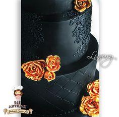 50 th birthday cake, black lace via Craftsy
