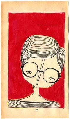 glasses by Jordan Grace Owens From my series of paintings on book papers. From my series of paintings on book papers. Art Fantaisiste, Art Et Illustration, Art Design, Interior Design, Whimsical Art, Portrait Art, Portraits, Doodle Art, Art Inspo