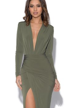Khaki Plunge Neckline Celebrity Inspired Maxi Dress