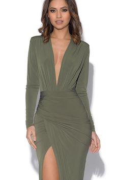 Khaki Plunge Neckline Celebrity Inspired Maxi Dress