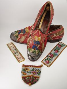 Men's Victorian Slippers Shoes Needlework Beadwork Circa 1860's AF It was the vibrant crimson coloring and the very unusual figural depiction that