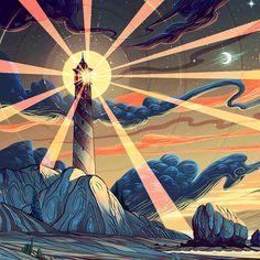 the lighthouse by andi koroveshi Expose 2 Lighthouse Sketch, Lighthouse Decor, Fantasy Landscape, Fantasy Art, Boat Drawing, Environment Concept Art, Fantasy Illustration, Arte Pop, Art For Art Sake