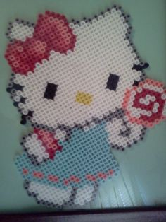 Lolli-Pop Hello Kitty perler by PerlerPixie on deviantart