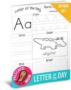 Freebie!  Letter of the Day Workbook at Preschool Mom
