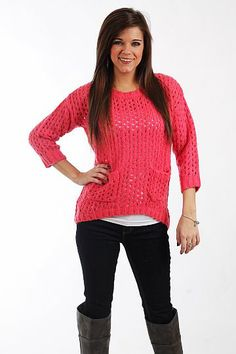 """Bubblegum Sweater, pink $40.00  How cute is this open weave sweater? The pink color will brighten up even the dreariest days, and we love the pockets on the front and subtle hi lo hemline. Slip this on over a cami and jeans for a comfy and trendy outfit!   Fits true to size. Miranda is wearing a small.   From shoulder to hem:  Small - 23""""  Medium - 24""""  Large - 25"""""""