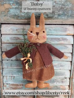 Primitive Easter Bunny Rabbit Doll Pattern Daisy by libertycreek