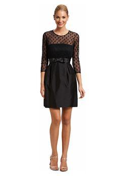 """Brides.com: Bridesmaid Dresses with Sleeves. """"Rosanna"""" black silk wool polka dot bridesmaid dress, $430, Kirribilla  See more black bridesmaid dresses."""