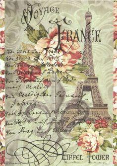Ricepaper/ Decoupage paper, Scrapbooking Sheets/Craft Paper Vintage Tour Eiffel  #Decoupage