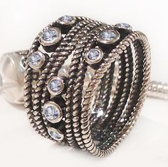 Size 9 925 Sterling Silver Oxidized Clear Cubic Zirconia Rope Twist Dress Ring | eBay
