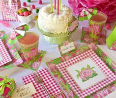 Pink gingham and elephant Lilly party