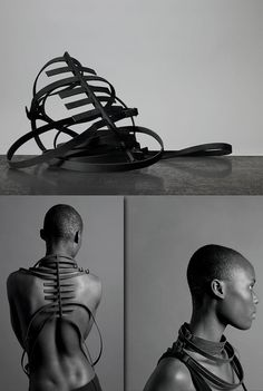 Leather, Matthew Gill and Ann Nelvig, Artists, Mode en Module, Body Spine, 2010, leather, Photography: Adam Laylock
