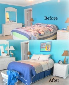 Before and After Staged Beach Inspired Bedroom. This bland boring bedroom is now bright and cheerful, ready for relaxing and enjoying a weekend at the beach! Completed in Swansboro, NC by LisasCreativeDesigns.com #SwansboroNC