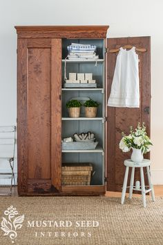 the wood wardrobe with the painted interior - Miss Mustard Seed