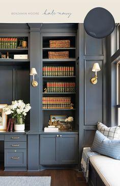 Foyer Paint Colors, Best Gray Paint Color, Blue Gray Paint Colors, Navy Blue Walls, Favorite Paint Colors, Bedroom Paint Colors, Paint Colors For Home, Grey Paint, Hale Navy