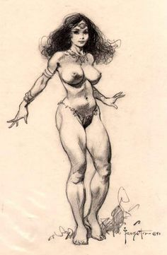 Sketch Of Princess Dejah Thoris from John Carter Princess of Mars by Frank Frazetta