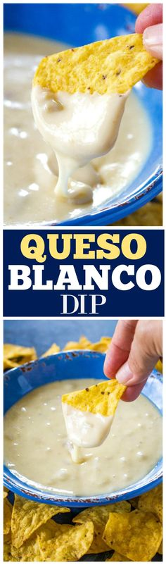 Queso Blanco Dip - only 4 ingredients to creamy, restaurant quality dip appetizer. Can be made in the crockpot too! the-girl-who-ate-everything.com