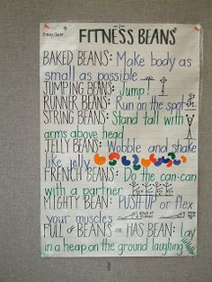 HPE Merritt: Health and Physical Education: Fitness Beans! – Jennifer Babo HPE Merritt: Health and Physical Education: Fitness Beans! HPE Merritt: Health and Physical Education: Fitness Beans! Elementary Physical Education, Physical Education Activities, Pe Activities, Health And Physical Education, Elementary Education, Classroom Activities, Fitness Activities, Education Posters, French Education