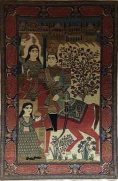 A very interesting Antique Persian Motashem Kashan rug circa 1900.