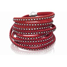 Sif Jakobs Jewellery 160cm Arezzo Red Leather Bracelet with White... ($253) ❤ liked on Polyvore featuring jewelry, bracelets, red, genuine leather bracelet, leather bangle, cz bracelet, zirconia bracelet and magnetic clasp bracelet