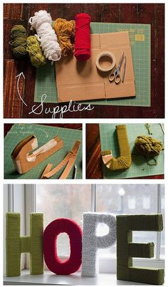 Diy cardboard letters covered in yarn Yarn Letters, Cardboard Letters, Diy Letters, Wood Letters, Cardboard Boxes, Paper Letters, Giant Letters, Diy Projects To Try, Crafts To Do