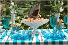 Shark Dinner Party - loving out of the ordinary party themes!