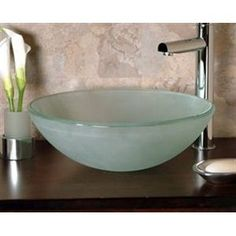 Cantrio Koncepts GS-102 - Glass Round Vessel Sink Bathroom Sinks  Love these vessel sinks