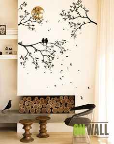 Midnight romance - Large Tree Branches mural, nursery vinyl  wall decal, tree wall decal, Vinyl Wall  bird stickers - MM023