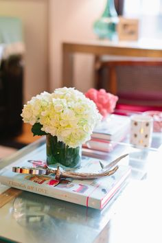 U.S. Army Captain Katie del Castillo's Washington D.C. Apartment Tour #theeverygirl // coffee table styling // hydrangea