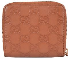 Women's Saffron Tan Leather GG Guccissima French Zip Wallet W/Coin